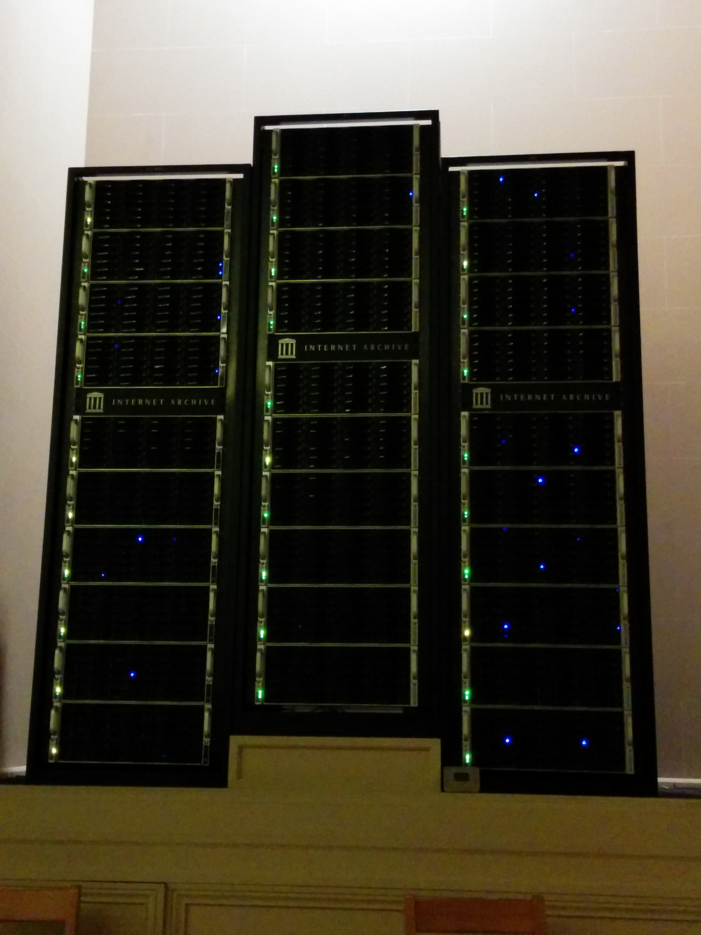 Three of the server racks that comprise archive.org.